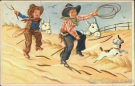 Boys Playing Cowboys with Stick Horses  Dog