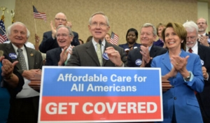 Democrats hold a press conference celebrating the Affordable Care Act in Washington
