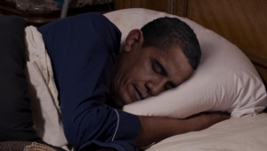 The president in the midst of experiencing yet another sex dream about all 313 million American citizens.