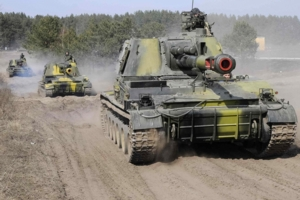Ukrainian tanks take part in a military exercise near Kharkiv