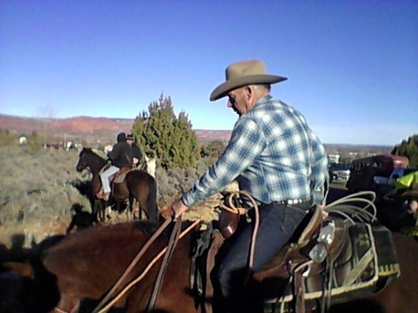 Cliven mounted up for memorial horseback ride.