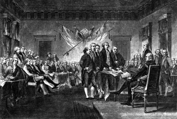 This undated engraving shows the scene on July 4, 1776 when the Declaration of Independence was approved by the Continental Congress in Philadelphia, Pa. The document, drafted by Thomas Jefferson, Benjamin Franklin, John Adams, Philip Livingston and Roger Sherman, announces the separation of 13 North American British colonies from Great Britain. The formal signing by 56 members of Congress began on Aug. 2. (AP Photo)