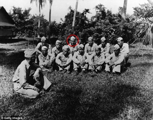Kellwood is third from left in the back row in the above picture of Navajo Code Talkers on the island of Peleliu in November 1944