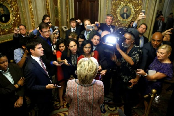 Hillary Clinton speaks with reporters as she departs after meeting with Senate Democrats during their luncheon gathering at the U.S. Capitol in Washington on July 14th, 2016. Jonathan Ernst/Reuters